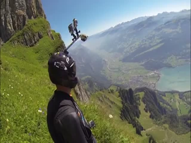 Beautiful and Scary Swiss Alps Wingsuit Proximity Flying  (VIDEO)