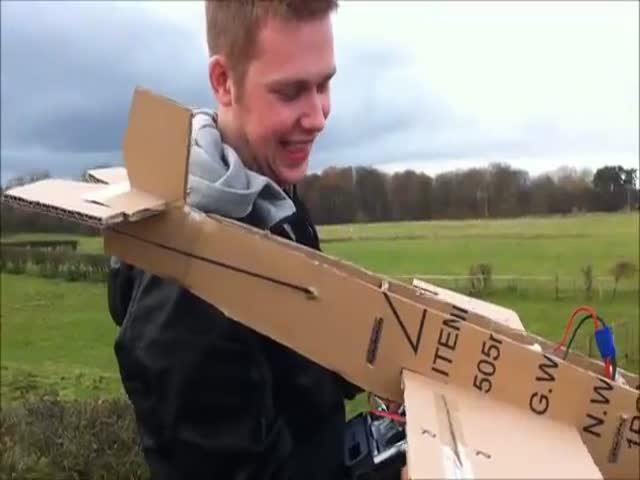 Homemade Cardboard Plane Actually Flies  (VIDEO)