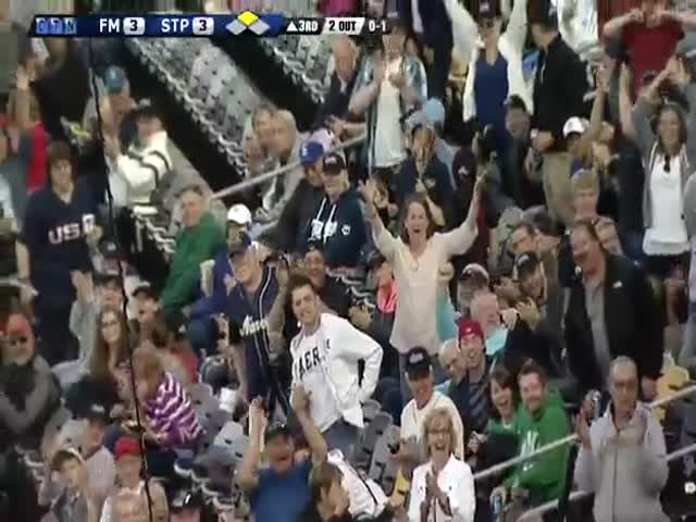 Baseball Fan Catches Bat with One Hand While Holding His Beer