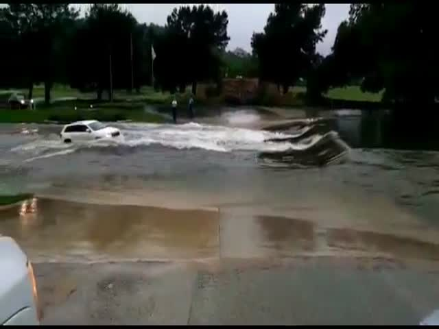 Car Swept Ways in Texas Flood
