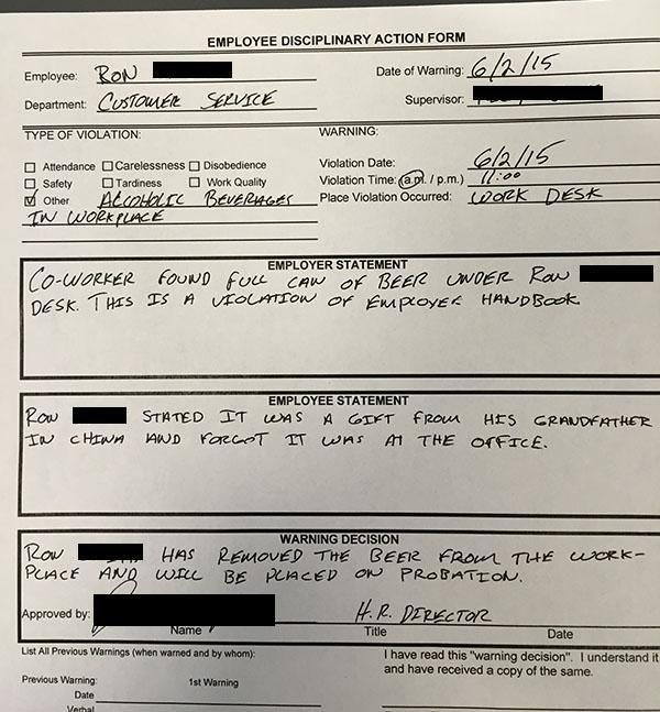 Dude Gets a Warning for Hiding a Beer at Work
