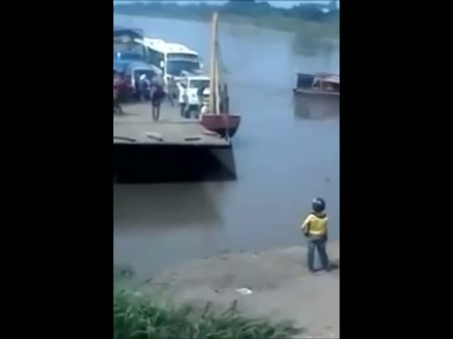 Guy Misses a Step and Almost Gets Killed by a Ferry  (VIDEO)