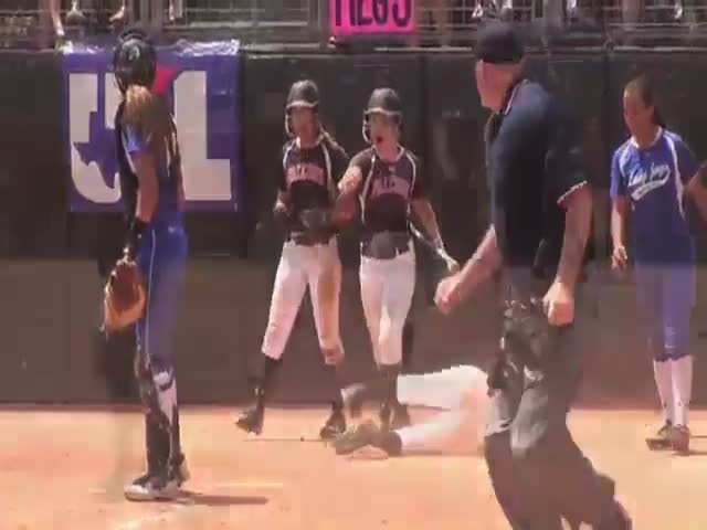 High School Softball Catcher Plays Dirty and Gets Away with It  (VIDEO)