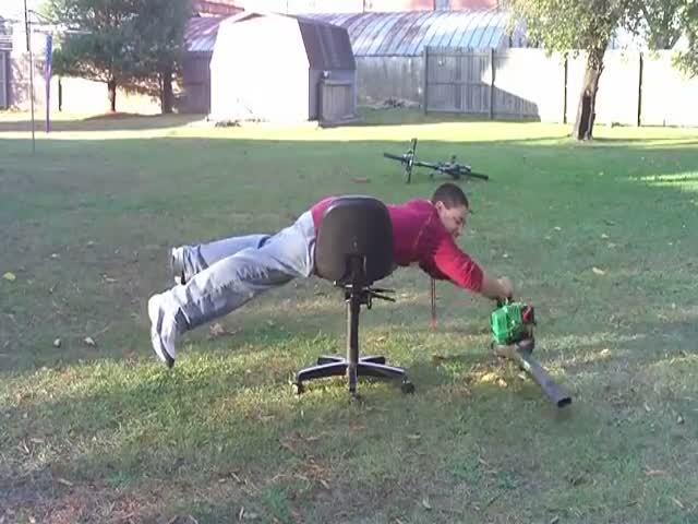 An Office Chair and a Leaf Blower Is a Deadly Combination  (VIDEO)