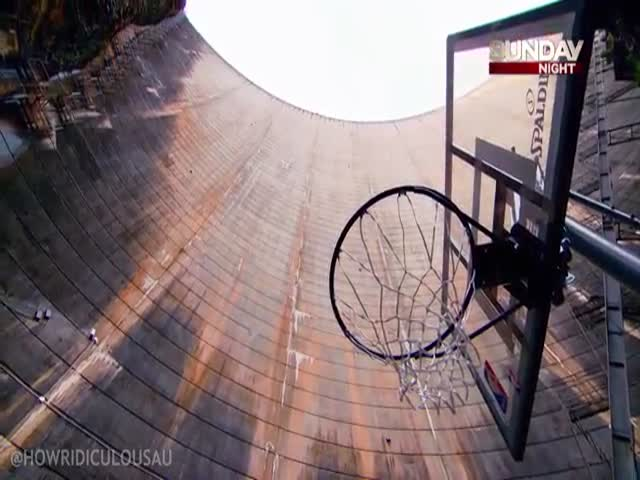 A Record Breaking Basketball Trick Shot from a Dam Wall