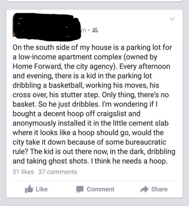 Anonymous Person Does This Cool Thing for the Local Kid on the Block