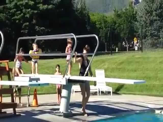 Adorable Toddler Takes Matters into Her Own Hands on the Diving Board