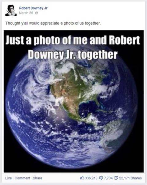 Robert Downey Jr. Has the Funniest Facebook Page Ever