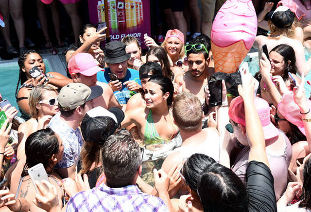 Demi Lovato Handles Her Pool Party Fall Like a Trooper