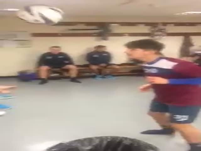 Football Team Pull Off an Awesome Trick in the Dressing Room