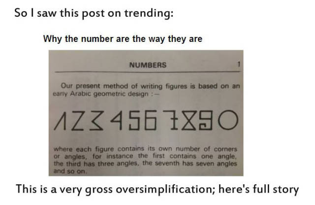An Interesting Explanation about Why Numbers Really Look the Way They Do