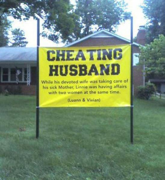 Cheaters Get a Taste of Public Shame