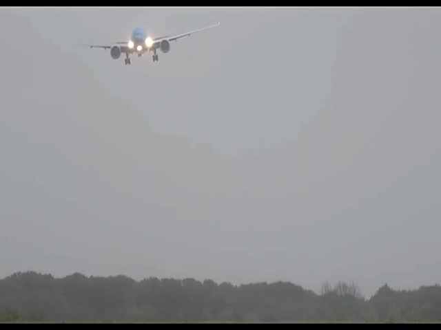 Plane Comes in for a Rocky Landing in Stormy Weather