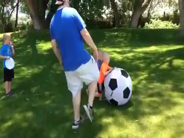 Dad Owns His Young Son with a Soccer Ball Twice in a Row