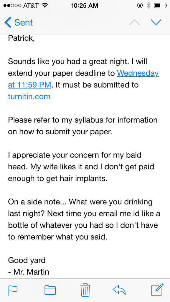 Teacher Gets a Drunk Text from a Student and His Reply Is Awesome