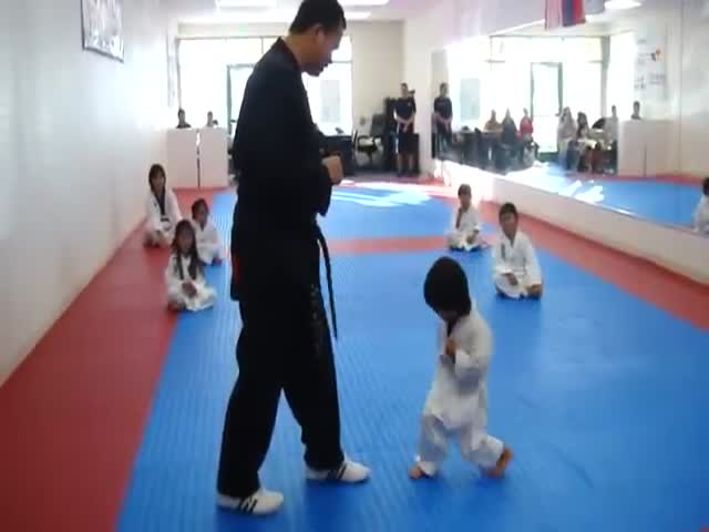 Adorable Little Kid Attempts to Break a Board in Taekwondo