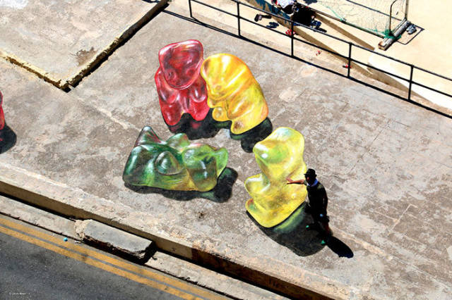 Giant 3D Gummy Bears are Not as Scary as They Look from Above