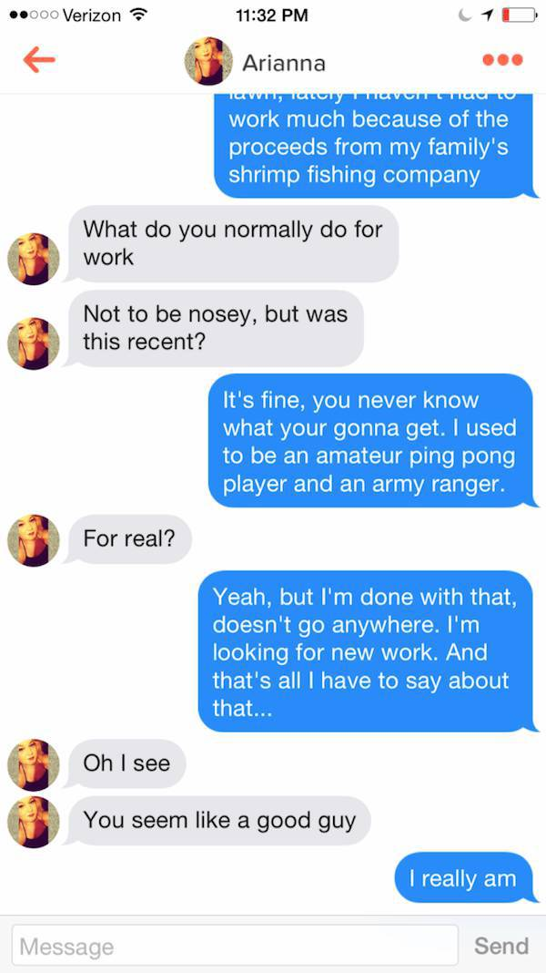 Naive Girl Doesn't Notice That She Is Really Chatting to Forrest Gump on Tinder