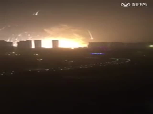 Massive Explosion Erupts Near the Port of Tianjin China
