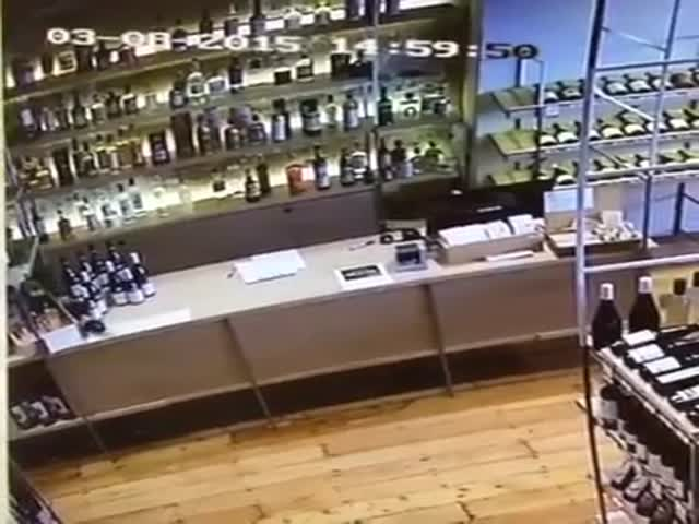 Wine Shop Employee Makes the Perfect Save While on Duty