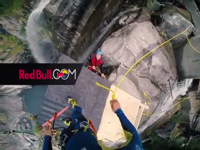 27 Year Old Laso Schaller Completes a 193 Foot World Record Cliff Jump