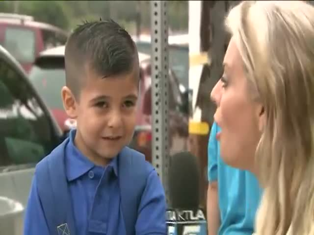 Reporter Causes a Little Boy to Burst into Tears