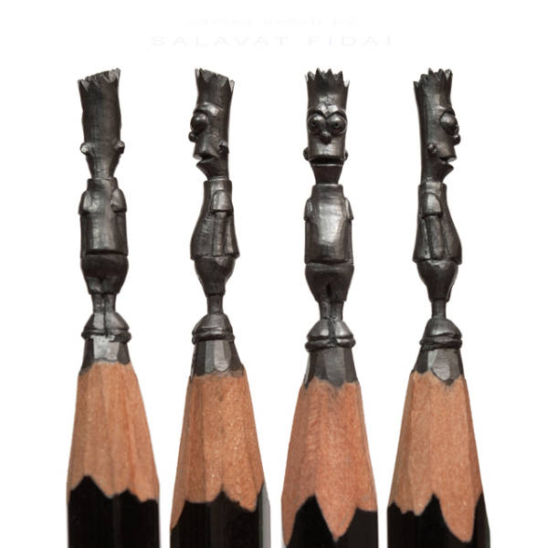 Amazing Tiny Lead Sculptures Carved into the Tips of Pencils