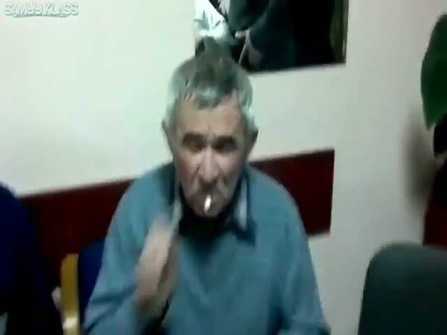 Granddad Performs a Nifty Trick Using Vodka and a Lit Cigarette