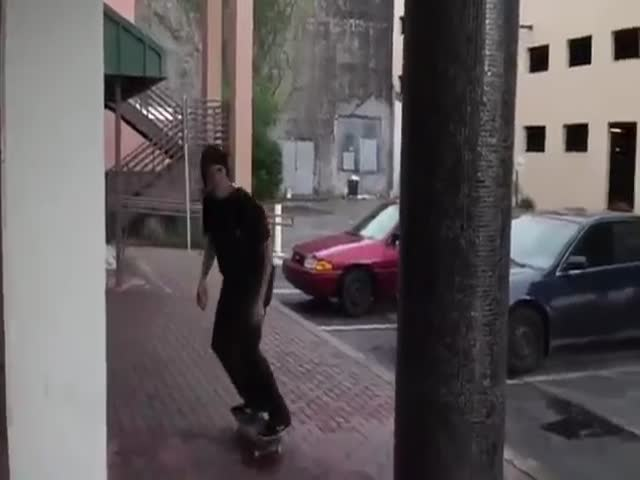 Skater Gets Knocked over By a Passing Car While Filming Tricks