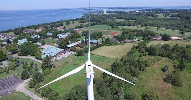 Drone Spots an Odd Sighting on Its Flight Past a Wind Turbine