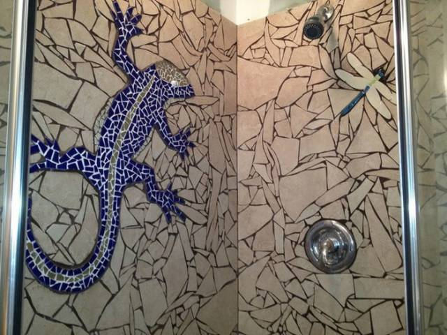 A Cool Bathroom Makeover with Broken Tiles