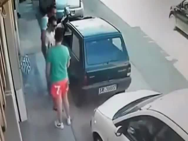 A Tight Parking Space Proves to Be No Problem for This Strong Man