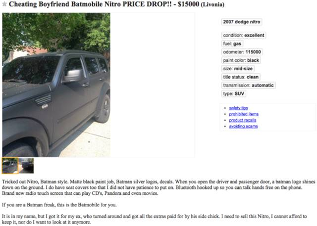 Girl Sells Her Cheating Ex's Batmobile Right out from Under His Nose