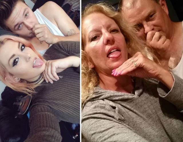 "Funny Parents Troll Their Daughter by Copying Her ""Cute Couple"" Selfies"