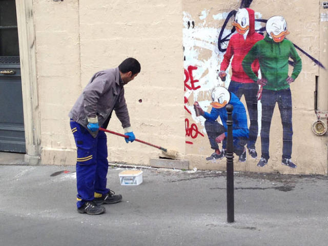 French Street Cleaner Gets Immortalized in Clever Street Art