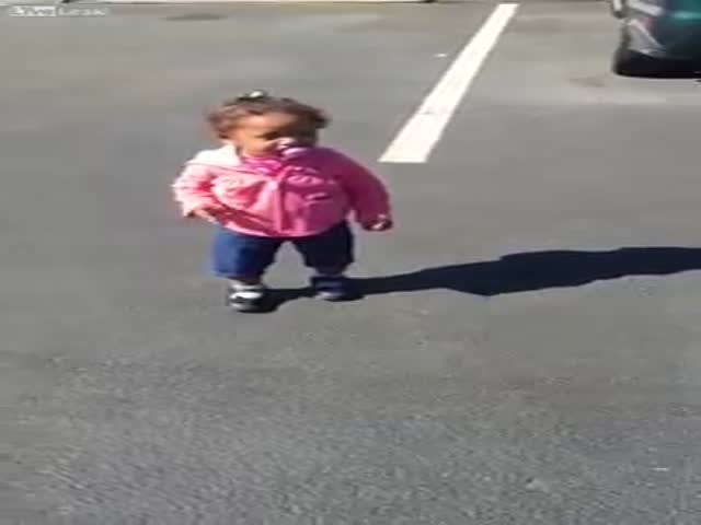 This Cute Kid Is Scared of Her Own Shadow