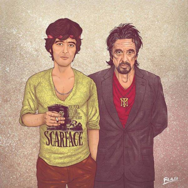 Creative Drawings That Show Old and Young Versions of Some Famous Faces