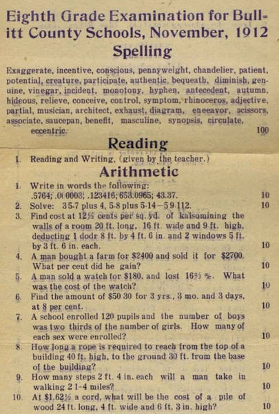 This 8th Grade Test from 1912 Is a Lot Harder Than You Think