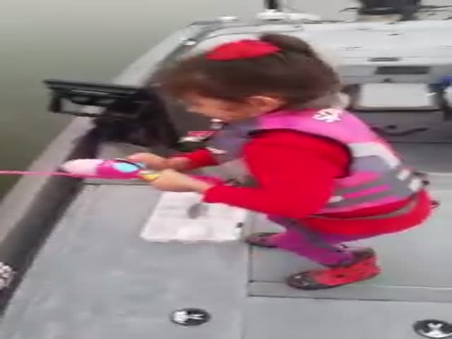 Cute Little Girl Lands a Big Bass on Her Barbie Fishing Rod