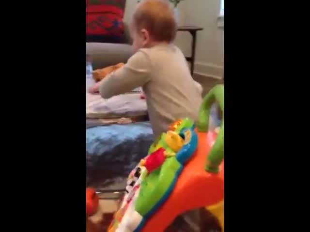 Adorable Baby Boy Challenges His Mom to a Funny Game with a Glass of Water