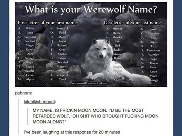 This Has to be the Lamest Werewolf Name in the World