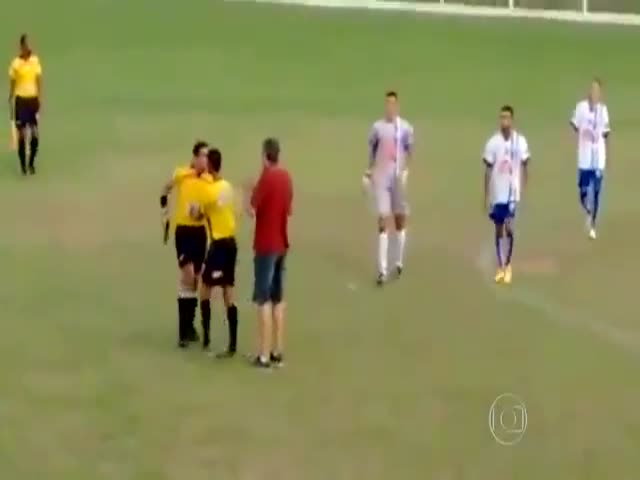 Armed Referee Gets a Bit Violent During a Football Match in Brazil