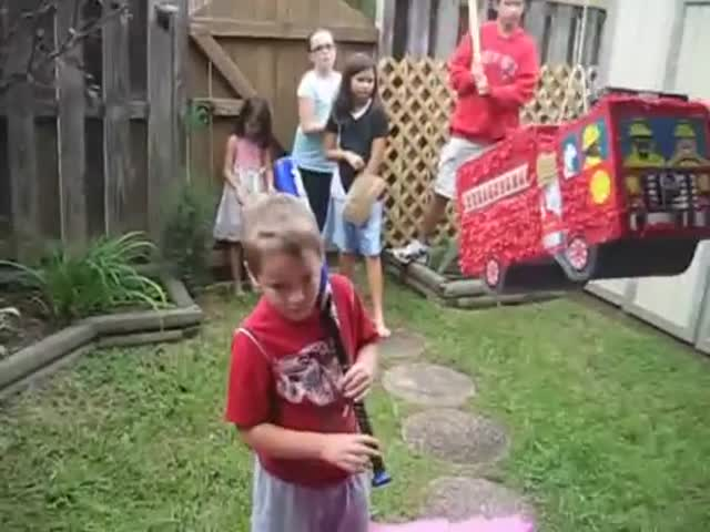 Birthday Boy Gets a Big Fright when His Party Piñata Fights Back
