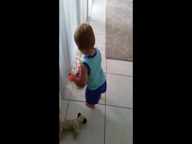This Little Boy Hasn't Quite Gotten the Hang of His Balls Just Yet