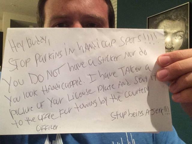 Douchebag Leaves a Really Rude Note on a Disabled Man's Car and His Response Is Priceless