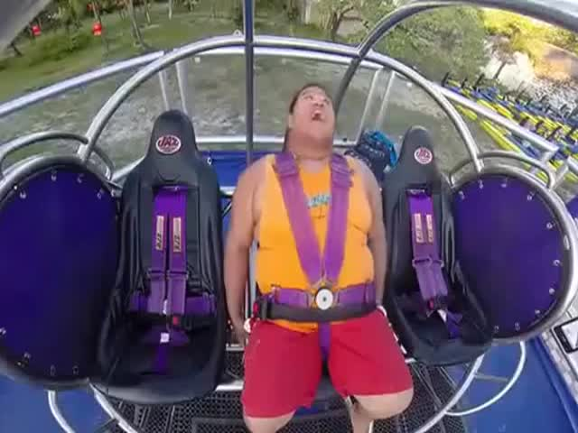 Slingshot Ride Is Too Scary for This Big Guy