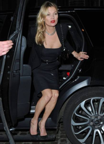 Kate Moss Appears Party Ready in Little Black Dress with a Suspicious White Mark