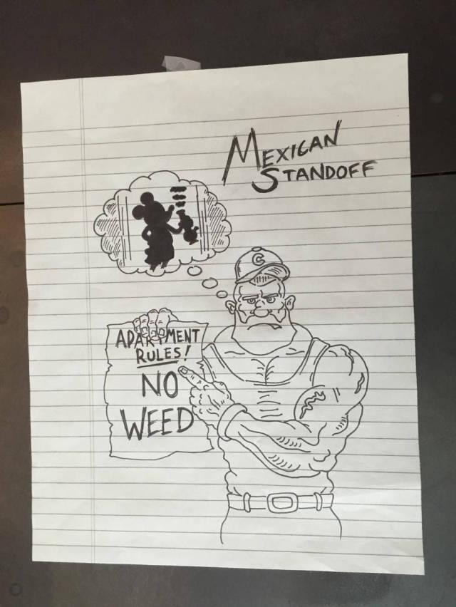 Neighbors Battle It Out through Amusingly Aggressive Cartoon Notes