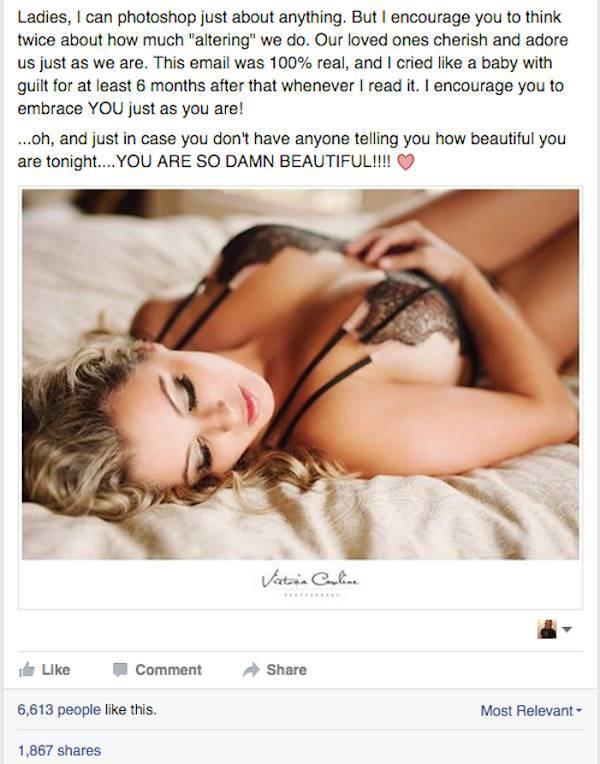 A Touching Response from a Husband Who Saw Photoshopped Images of His Wife