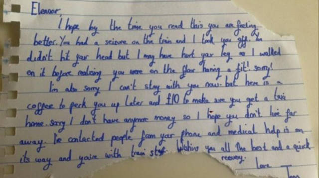 Mysterious Stranger Leaves a Surprising Note for a Girl Who Had a Seizure on the Train